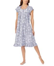 Eileen West Waltz Lace Trim Floral-Print Nightgown