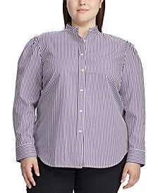 Plus Size Puff-Sleeve Cotton Shirt