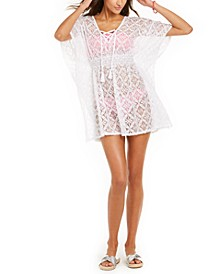 Juniors' Crochet Lace-Up Caftan Cover-Up, Created for Macy's