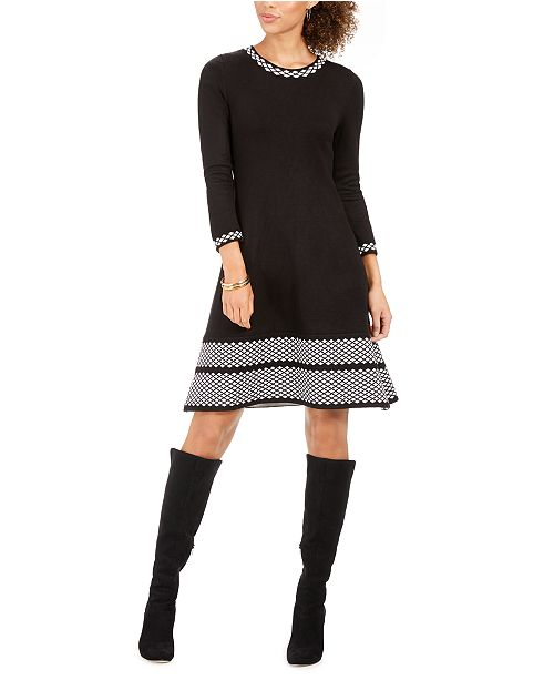 Jessica Howard Petite Border-Print Sweater Dress