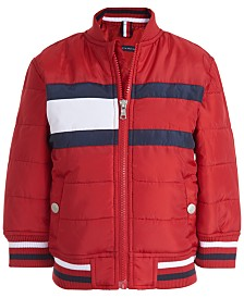 Tommy Hilfiger Baby Boys Eli Red Quilted Colorblocked Bomber Jacket