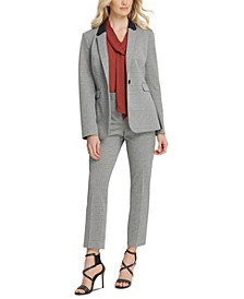 One-Button Knit Jacket, Tie-Neck Blouse &  Ankle Pants