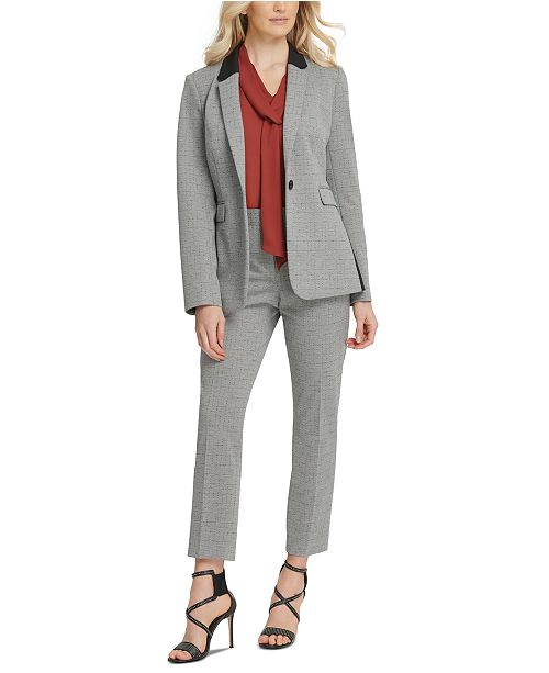 DKNY Petite One-Button Jacket, Tie-Neck Top & Skinny Ankle Pants