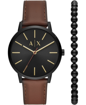 AX Armani Exchange Men's Cayde Brown Leather Strap Watch 42mm Gift Set
