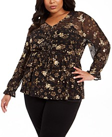 Plus Size Floral-Print Ruffled Top, Created For Macy's
