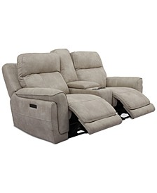 "Bryer 82"" Fabric Dual Power Loveseat with Console and USB, , Created for Macy's"