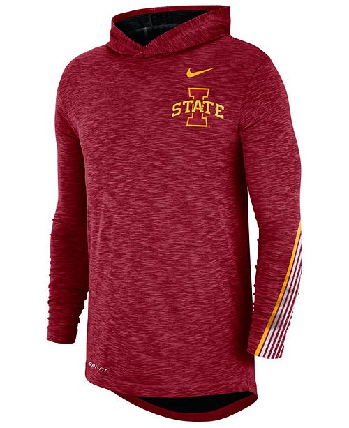 Nike Men's Iowa State Cyclones Hooded Sideline Long Sleeve T-Shirt
