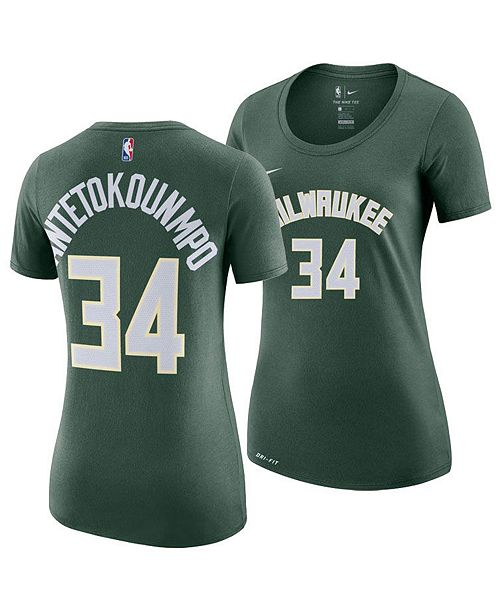 new style a9af0 80775 Women's Giannis Antetokounmpo Milwaukee Bucks Name and Number Player T-Shirt
