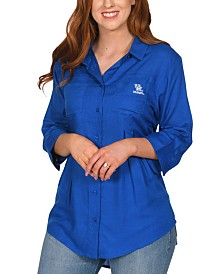 UG Apparel Women's Kentucky Wildcats Front Pleat Button Up Shirt