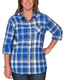UG Apparel Women's Plus Size Kentucky Wildcats Flannel Boyfriend Plaid Button Up Shirt