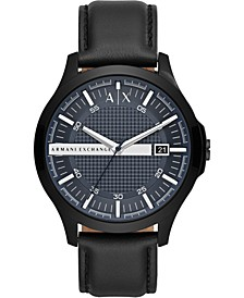 Men's Hampton Black Leather Strap Watch 46mm