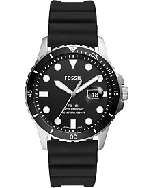 Fossil Men's Blue Dive Black Silicone Strap Watch 42mm