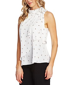 Ditsy-Floral Print Tiered Sleeveless Tie Blouse
