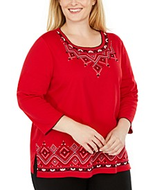 Plus Size Well Red Embroidered Top