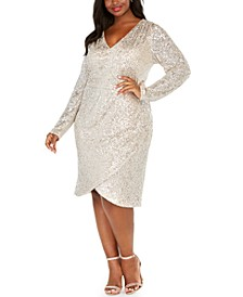 Plus Size Draped Sequined Sheath Dress