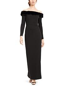 Off-The-Shoulder Faux-Fur-Trim Gown
