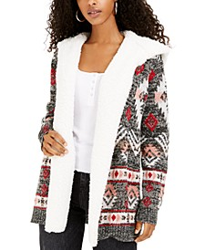 Crave Frame Juniors' Sherpa Trim Cardigan