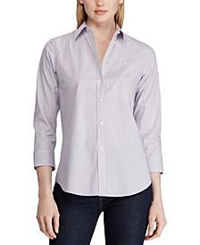 Stripe-Print Wrinkle-Resistant Button-Down Shirt