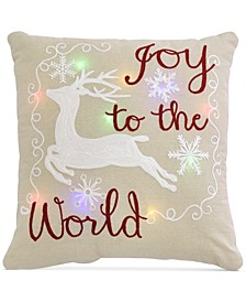 "Joy to the World 20"" x 20"" Light Up Decorative Pillow"
