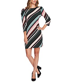 Striped Puff-Shoulder Dress
