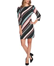 Vince Camuto Striped Puff-Shoulder Dress
