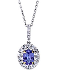 "Tanzanite (1 ct. t.w.) & White Sapphire (1 ct. t.w.) Pendant Necklace in Sterling Silver, 18"" + 2"" extender"