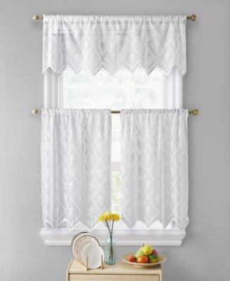 Lumino by Melbourne Floral Sheer Lace Voile Rod Pocket Café Tiers - 30