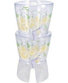 Basicwise Stackable Juice and Water Beverage Dispensers with Stand, Set of 2