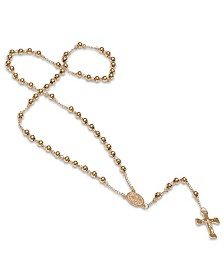 Steeltime Stainless Steel 18k gold Plated Religious Classic Beaded Rosary with Necklaces