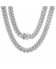 "Men's Stainless Steel 30"" Miami Cuban Link Chain with 12mm Box Clasp Necklaces"