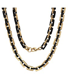 "Steeltime Men's black IP and 18k gold Plated Stainless Steel 24"" Square Rolo Chain Necklaces"