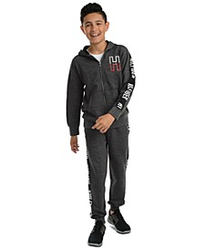 Big Boys Wyatt Full-Zip Logo Hoodie & Shango Side Stripe Fleece Sweatpants