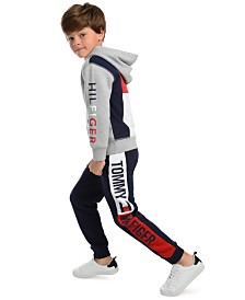 Tommy Hilfiger Toddler Boys Tim Icon Colorblocked Logo Hoodie & Chaka Logo-Print Fleece Sweatpants