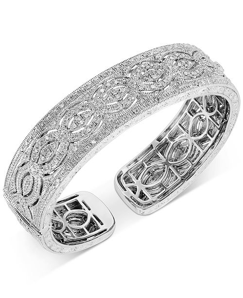Macy's Diamond Openwork Cuff Bracelet (1/2 ct. t.w.) in Sterling Silver