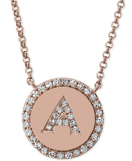 """EFFY Collection EFFY® Diamond Initial Pendant Necklace (1/6 ct. t.w.) in 14k Rose Gold, 16"""" + 2"""" extender"""