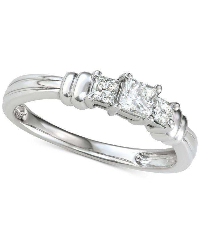 Macy's - Diamond Princess Trio Diamond Engagement Ring (1/2 ct. t.w.) in 14k White Gold