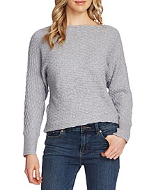 Dolman-Sleeve Basketweave Sweater
