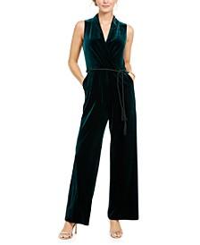 Tassel-Belted Velvet Jumpsuit
