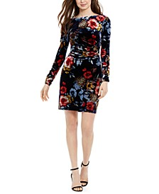 Floral-Print Velvet Bodycon Dress