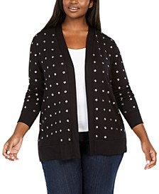Black Label Plus Size Grommet Cardigan
