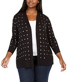 Belldini Black Label Plus Size Grommet Cardigan