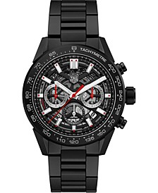 Men's Swiss Automatic Chronograph Carrera Black Ceramic Bracelet Watch 45mm