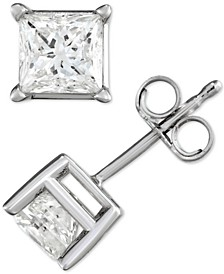 Diamond Princess Stud Earrings (1-1/2 ct. t.w.) in 14k White Gold