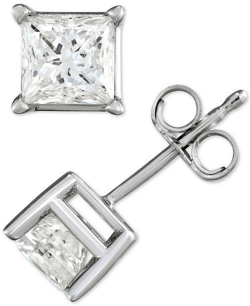 Macy's Diamond Princess Stud Earrings (1-1/2 ct. t.w.) in 14k White Gold