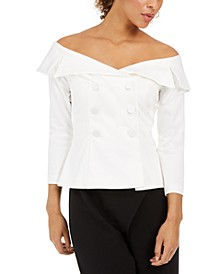 Petite Off-The-Shoulder Tuxedo Top