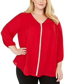 Plus Size Glitter-Stripe Top, Created for Macy's