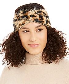 Fuzzy Animal Print Knit Twist Headband