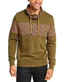 INC Men's Colorblocked Cheetah Print Cowlneck Sweatshirt, Created For Macy's