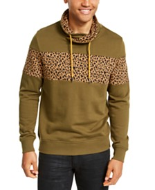 I.N.C. Men's Colorblocked Cheetah Print Cowlneck Sweatshirt, Created For Macy's