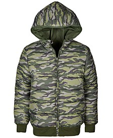 Big Boys Camo Reversible Water-Resistant Hooded Puffer Jacket, Created For Macy's